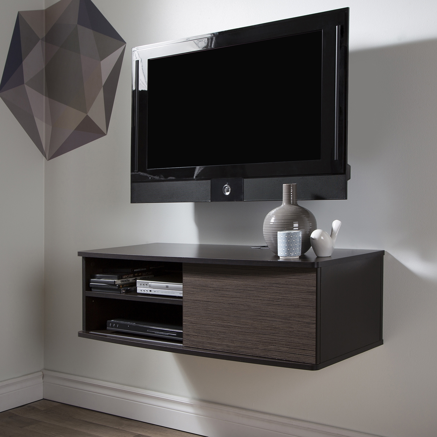 "Agora 38"" Wide Wall Mounted Media Console - Chocolate, Zebrano - SS-9028674"
