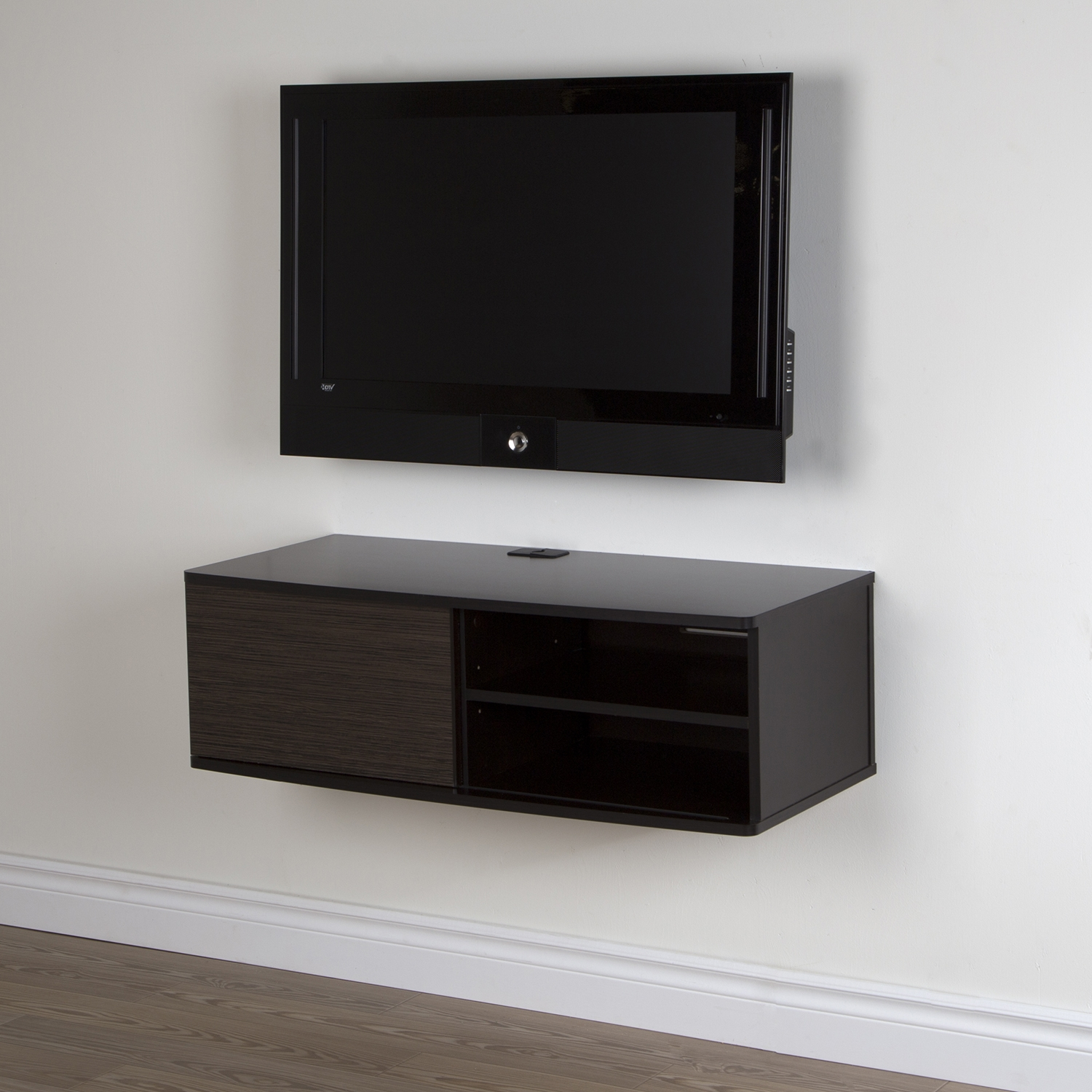 "Agora 38"" Wide Wall Mounted Media Console - Chocolate, Zebrano"