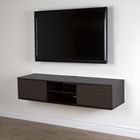 "Agora 56"" Wide Wall Mounted Media Console - Chocolate, Zebrano"