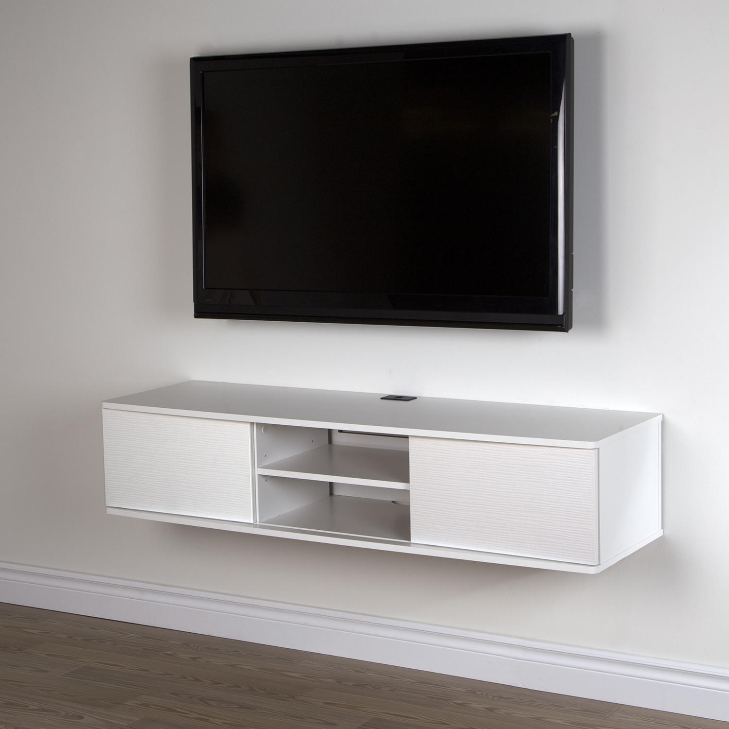 "Agora 56"" Wide Wall Mounted Media Console - Pure White"