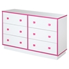 Logik 6 Drawers Double Dresser - Pure White and Pink