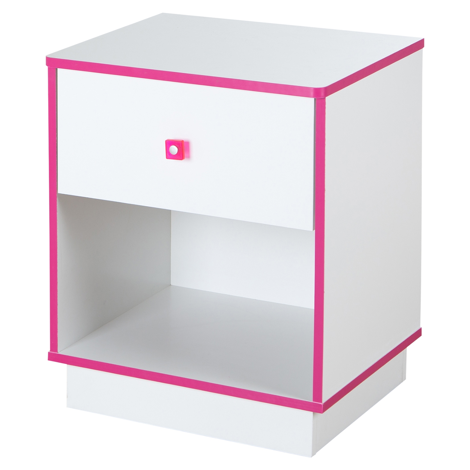 Logik 1 Drawer Nightstand - Pure White and Pink