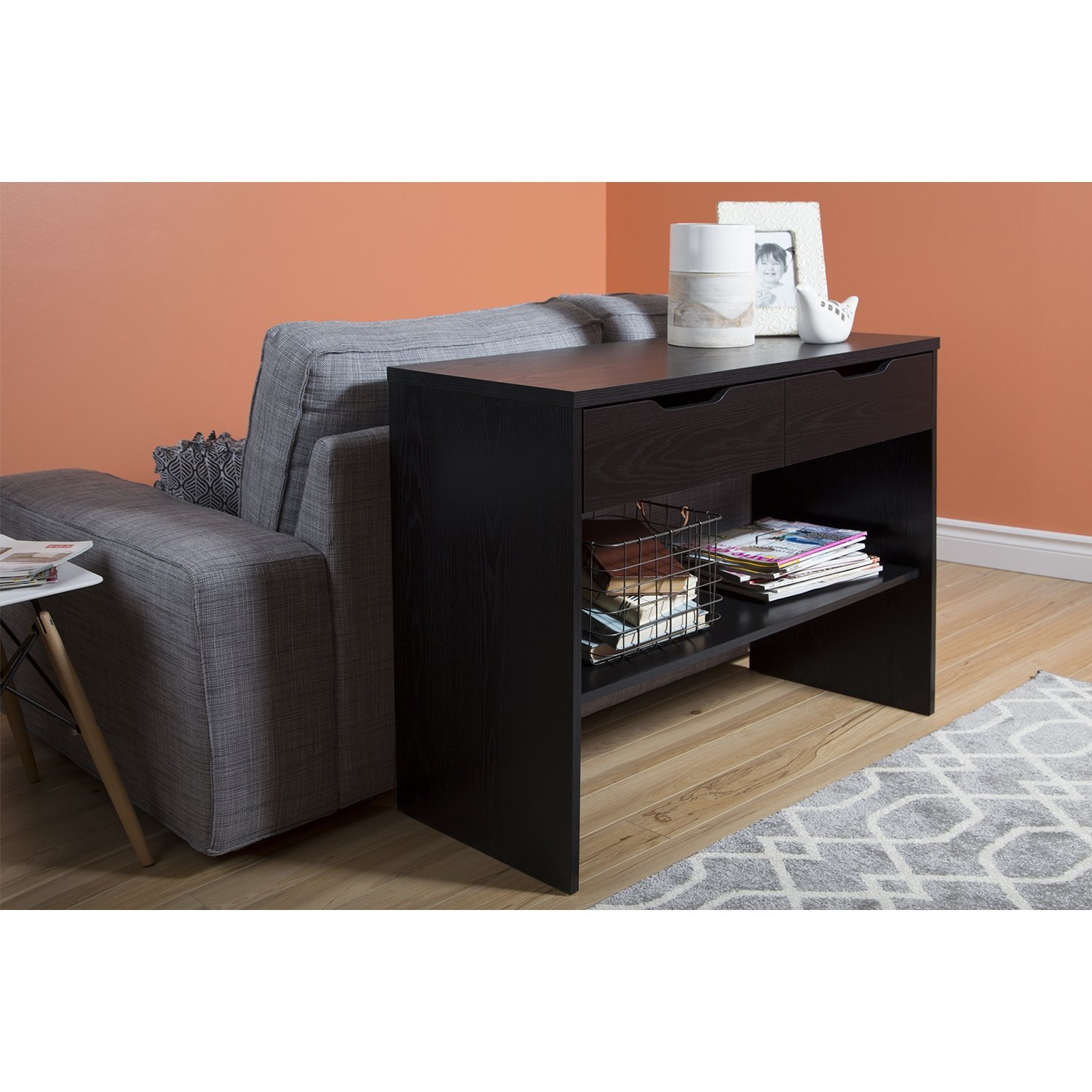 Flexible Console Table - 2 Drawers, Black Oak - SS-9045630