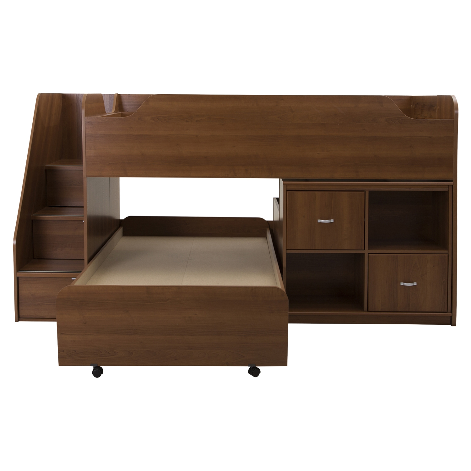 Mobby Twin Loft Bed with Stairs - Trundle, Storage Unit, Morgan Cherry