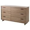 Fynn Double Dresser - 6 Drawers, Rustic Oak