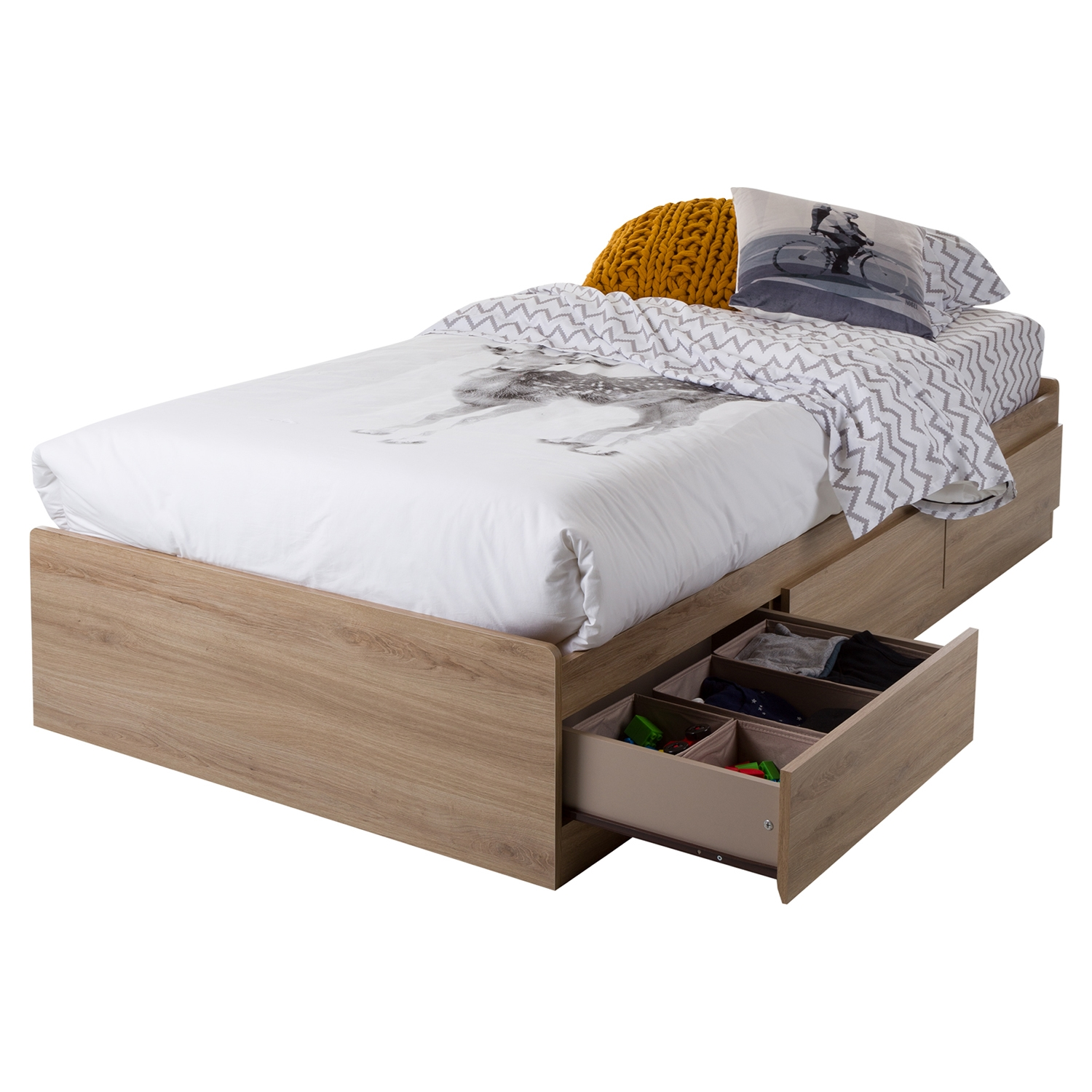 Fynn Twin Mates Bed - 3 Drawers, Rustic Oak - SS-9067212