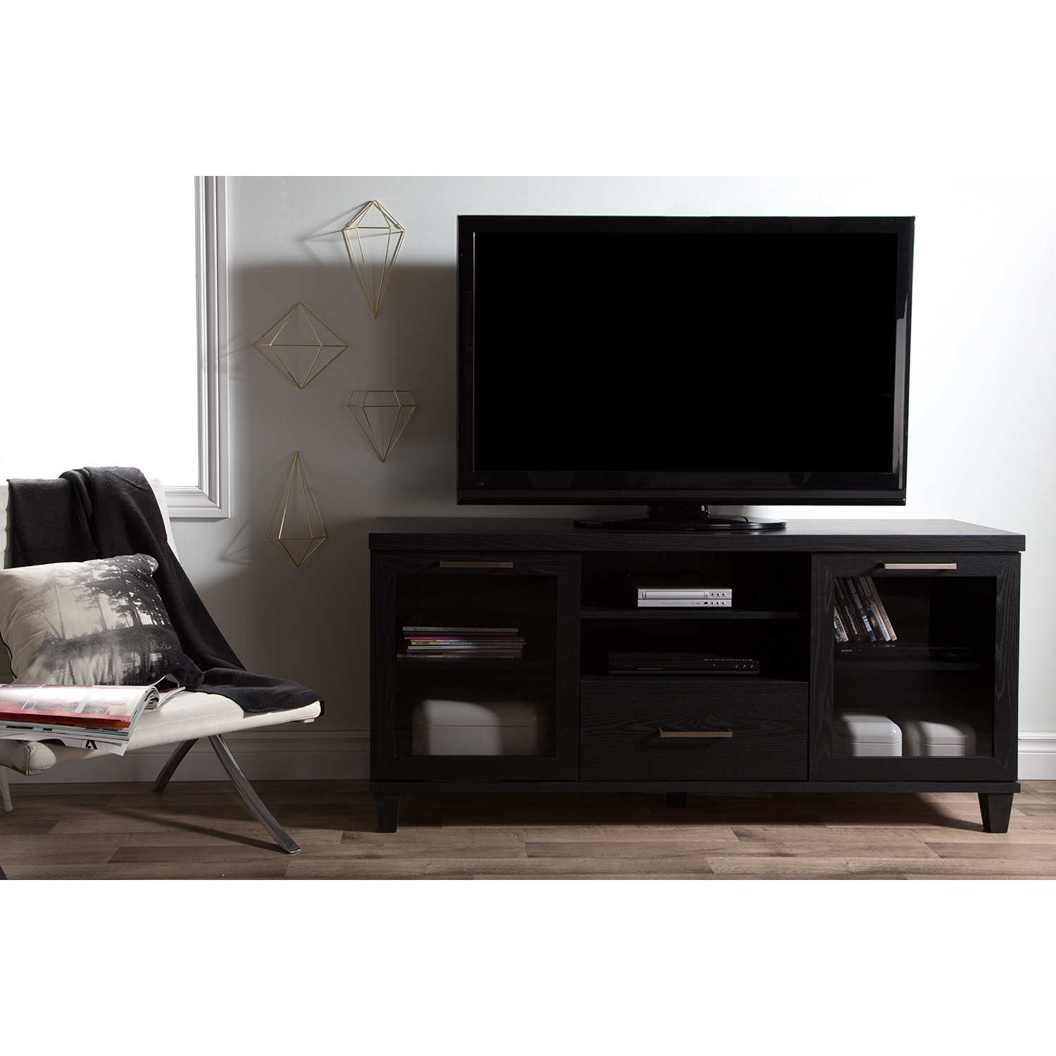 Adrian TV Stand - Black Oak - SS-9073662