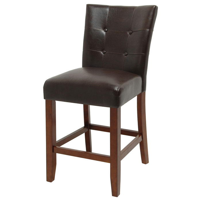 "Montibello 24"" Counter Chairs - Button Tufted, Brown Seat"