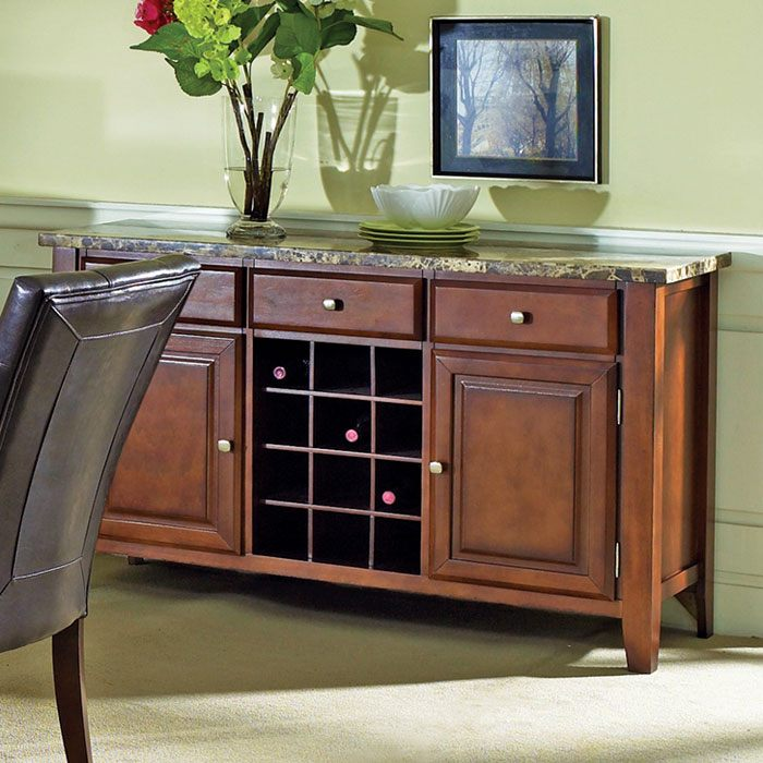 Montibello Marble Top Server with Wine Storage