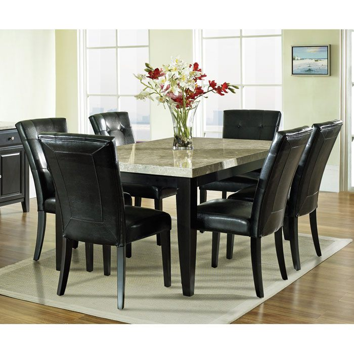 Monarch 7 Piece Contemporary Dining Set with Black Chairs - SSC-MC500-7PC