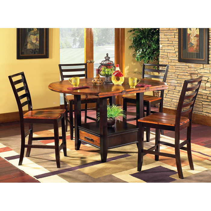 Abaco Drop Leaf Pub Table with Four Counter Chairs - SSC-AB-CNTR-5PC