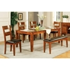 Mango 6 Piece Wood Dining Set in Light Oak Finish