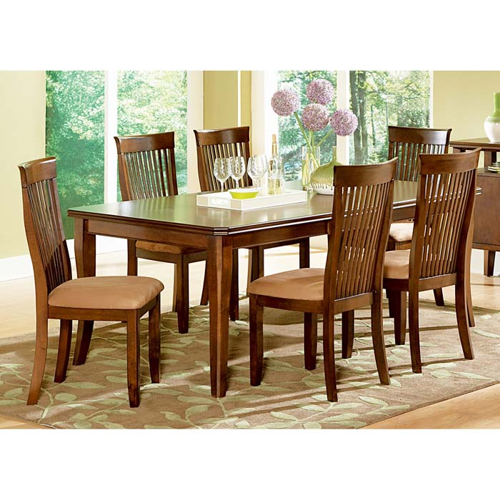 Montreal 7 Piece Dining Set with Slatted Back Chairs