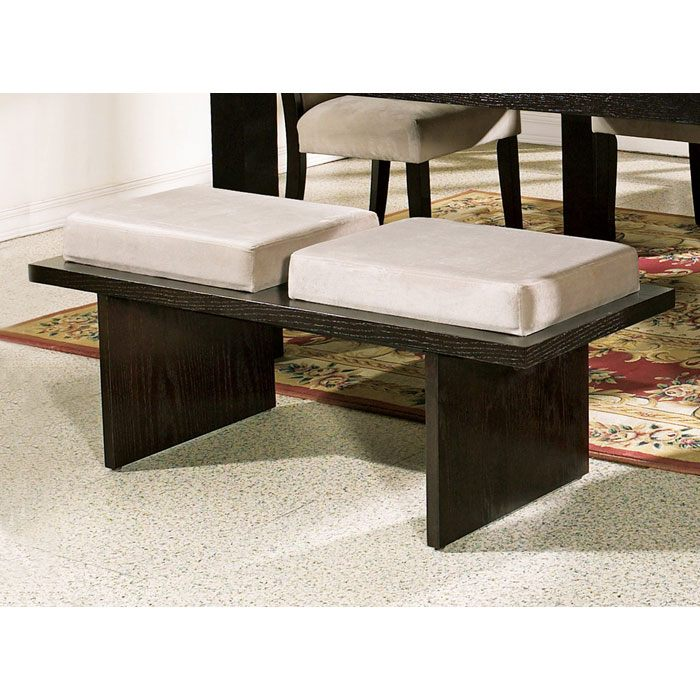 Movado Velvet Seat Bench with Wood Panel Legs