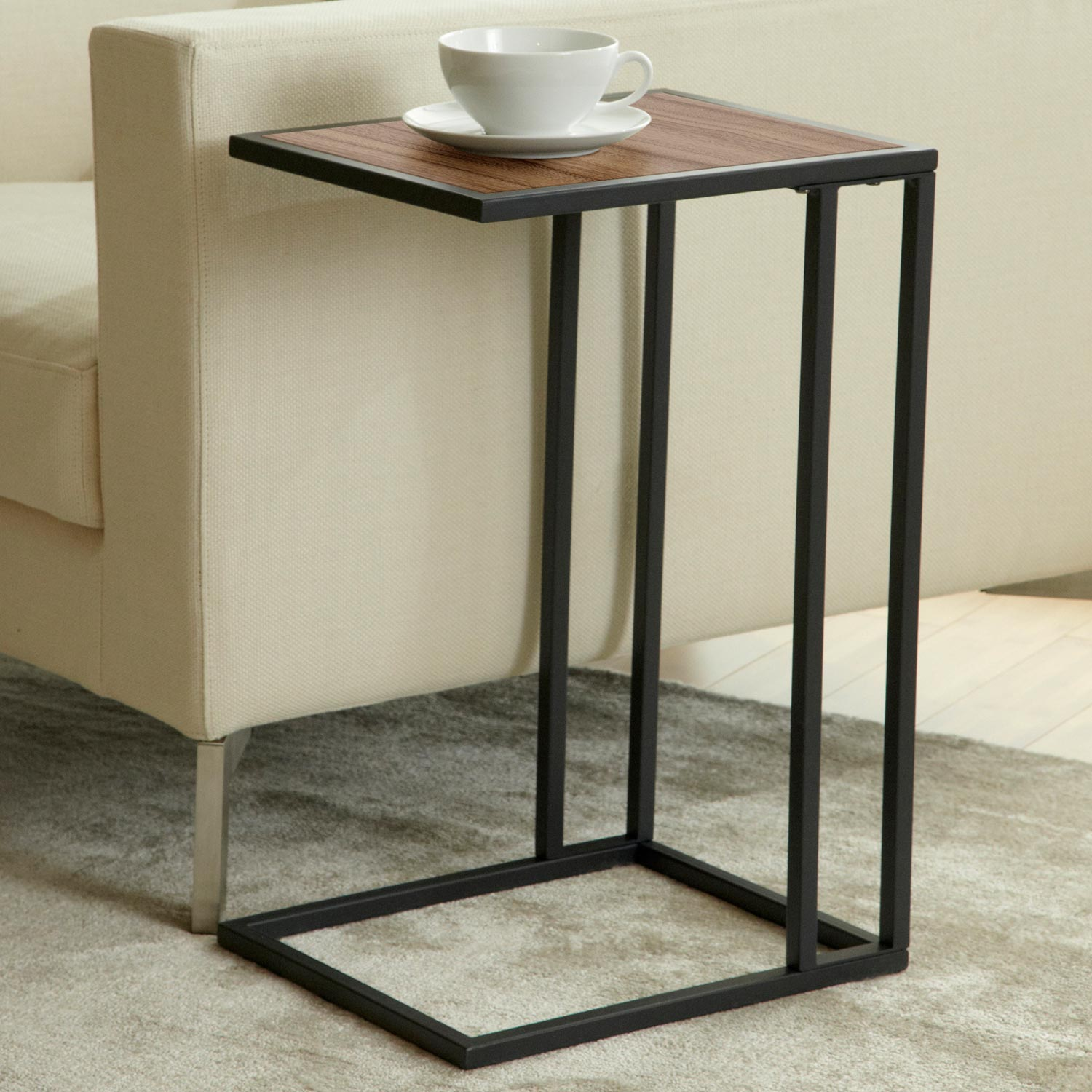 Parson Snack / Laptop Table - Steel Frame, Walnut Top