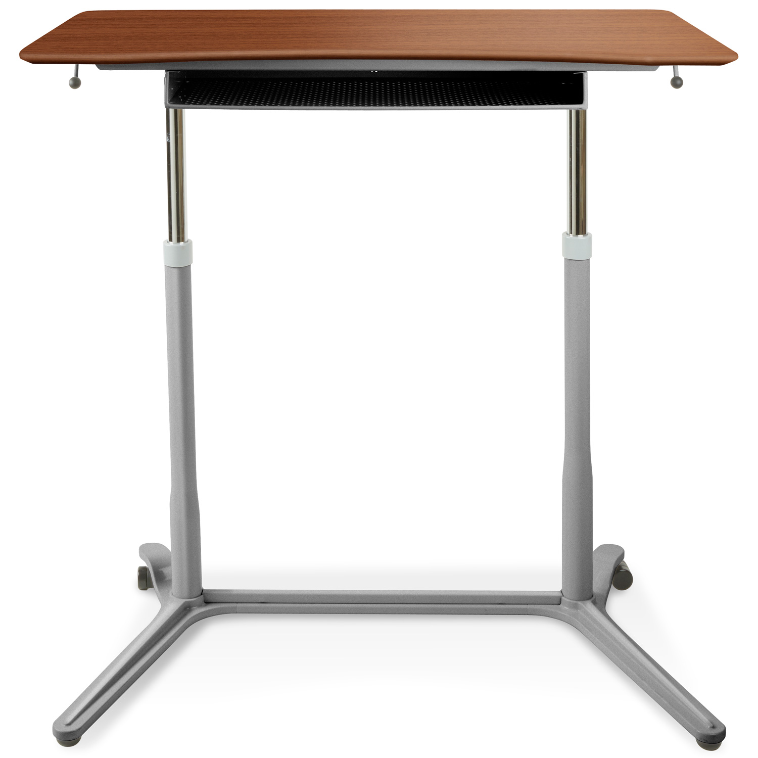 Mobile Sit & Stand Desk - Adjustable Height, Cherry
