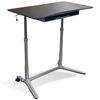Mobile Sit & Stand Desk - Adjustable Height, Espresso