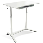 Mobile Sit & Stand Desk - Adjustable Height, White