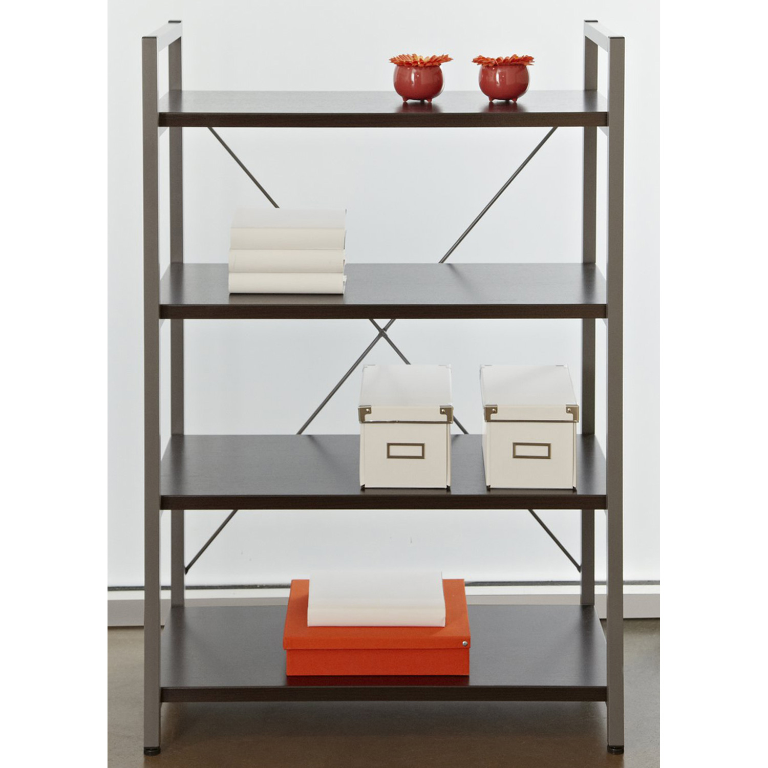 4-Shelf Bookcase - Metal Frame, Espresso - UNIQ-X213-ESP