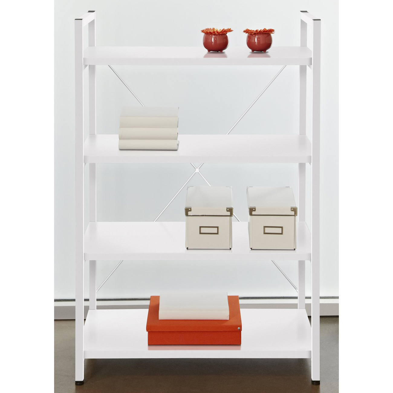 4-Shelf Bookcase - Metal Frame, White
