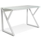 Contemporary Writing Desk - Glass Top, White
