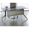 63 Inch Rectangular Desk - Steel Legs, Modesty Panel, Espresso