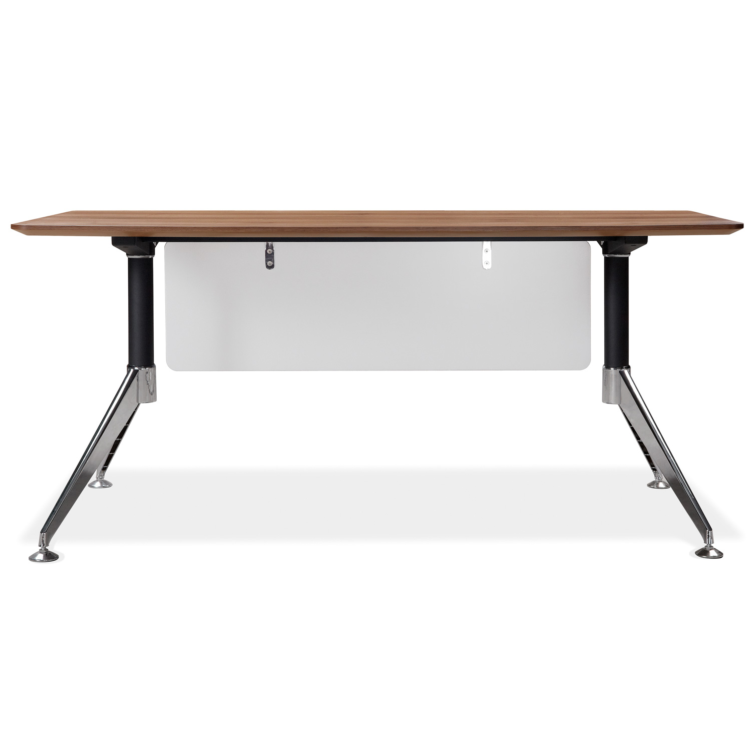 63 Inch Rectangular Desk - Steel Legs, Modesty Panel, Walnut