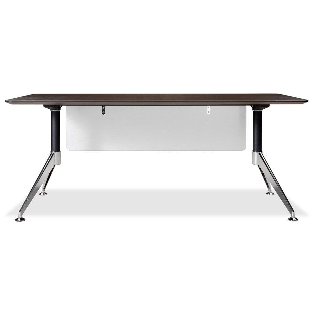 71 Inch Rectangular Desk - Steel Legs, Modesty Panel, Espresso