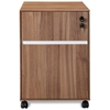 Mobile Locking Pedestal - Walnut, White Accent