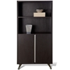 Contemporary Bookcase with Doors - Espresso