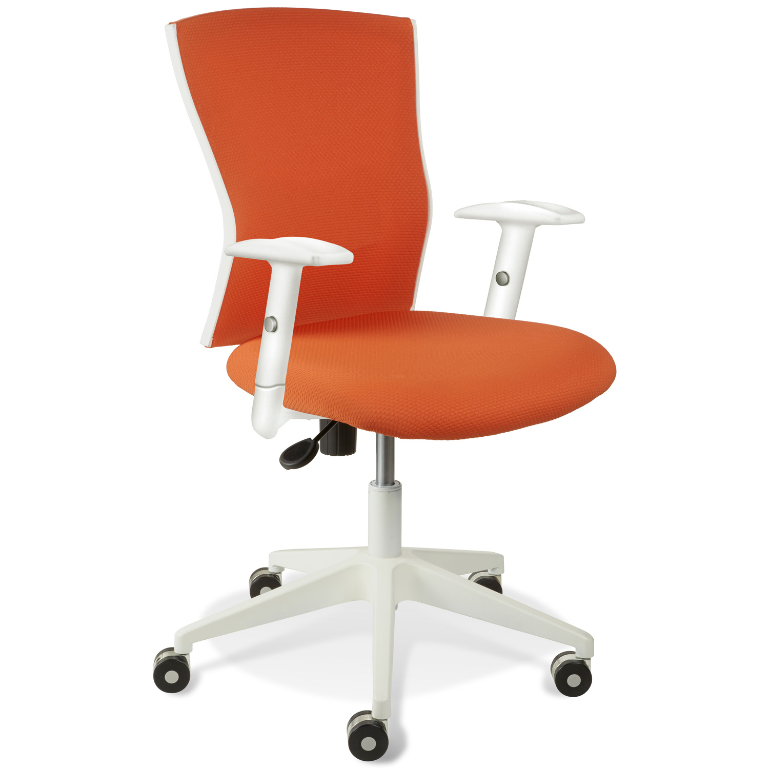 Sanne Office Chair - Tilt, Adjustable Arms, White & Orange
