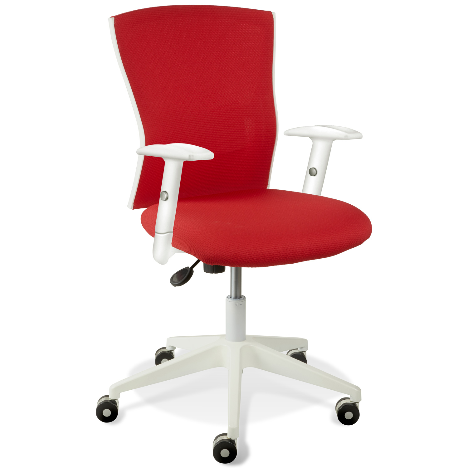 Sanne Office Chair - Tilt, Adjustable Arms, White & Red
