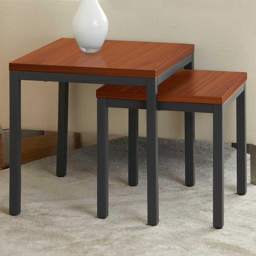 Parson 2 Piece Nesting Tables Set - Steel Frame, Cherry Top