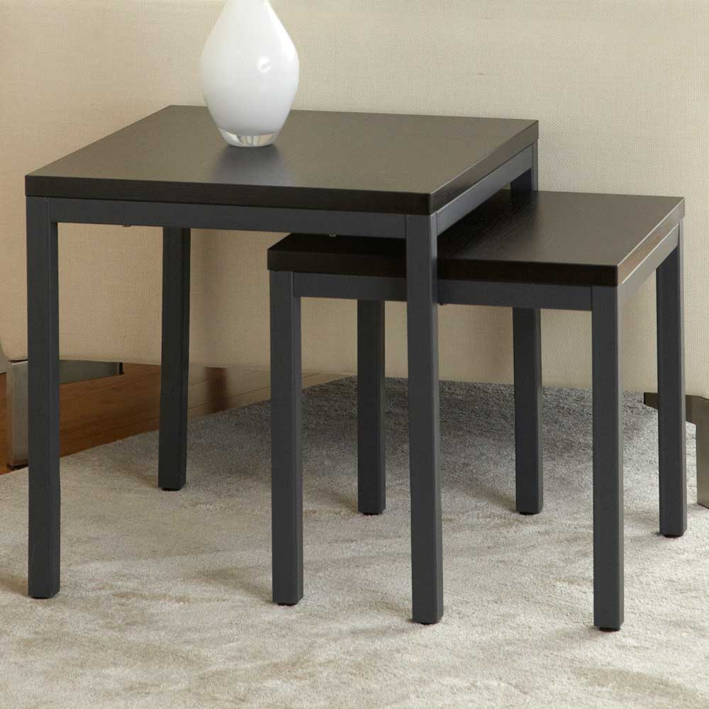 Parson 2 Piece Nesting Tables Set - Steel Frame, Espresso Top