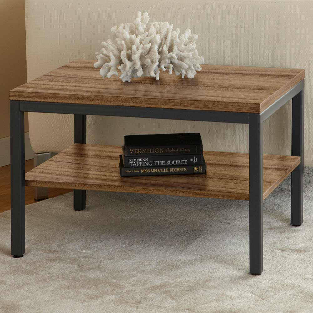 Parson Rectangular End Table - Shelf, Steel Frame, Walnut
