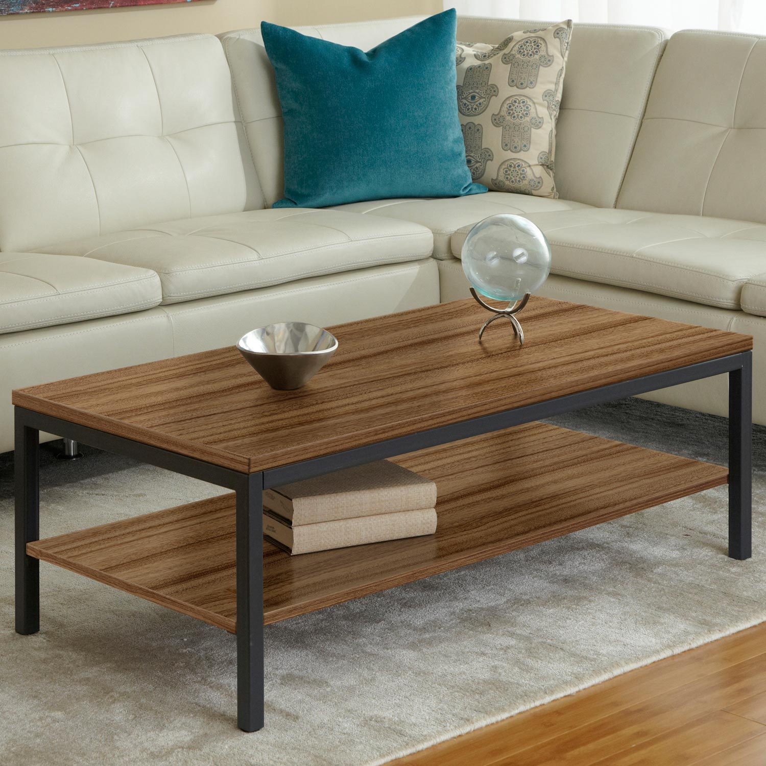 Parson Rectangular Coffee Table - Shelf, Steel Frame, Walnut