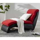 Magenta Fabric Chaise Lounge in Red and Black