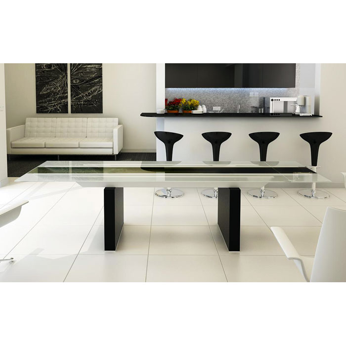 Lisbon Glass Top Dining Table with Extension Leaves
