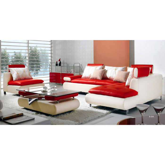 Dagny Contemporary Leather Chaise Sectional Set