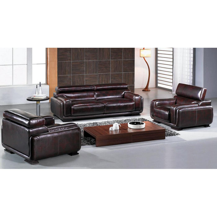 Baltimore Brown Leather Sofa, Loveseat, and Chair Set