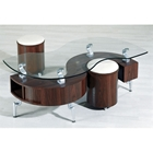 Reese Contemporary S-Shaped Coffee Table with Stools