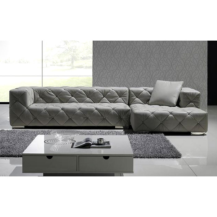 Leonardo Leather Chaise Sectional Sofa with Crystal Accents