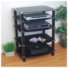Everest Glass Multilevel Black Stereo Rack Walker Edison Everest Glass Multilevel Black Stereo Rack V35CMPB