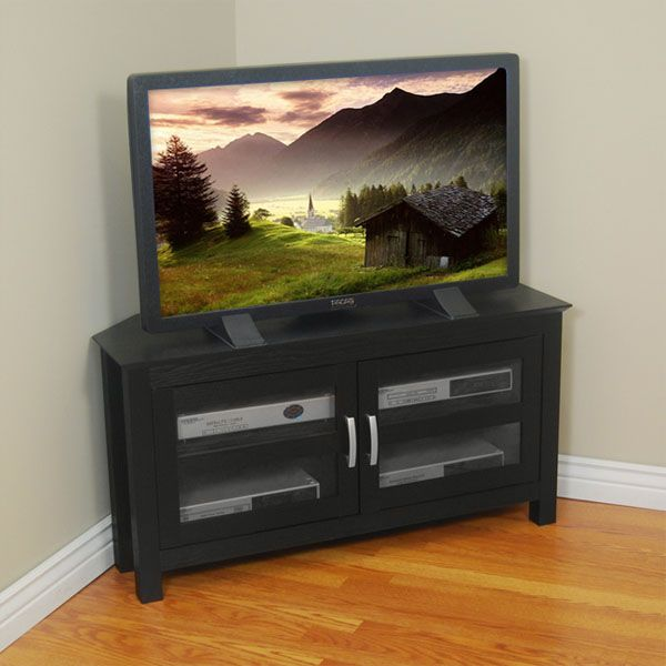 Castillo 44 Inch Corner Wood TV Stand in Black - WAL-W44CCRBL