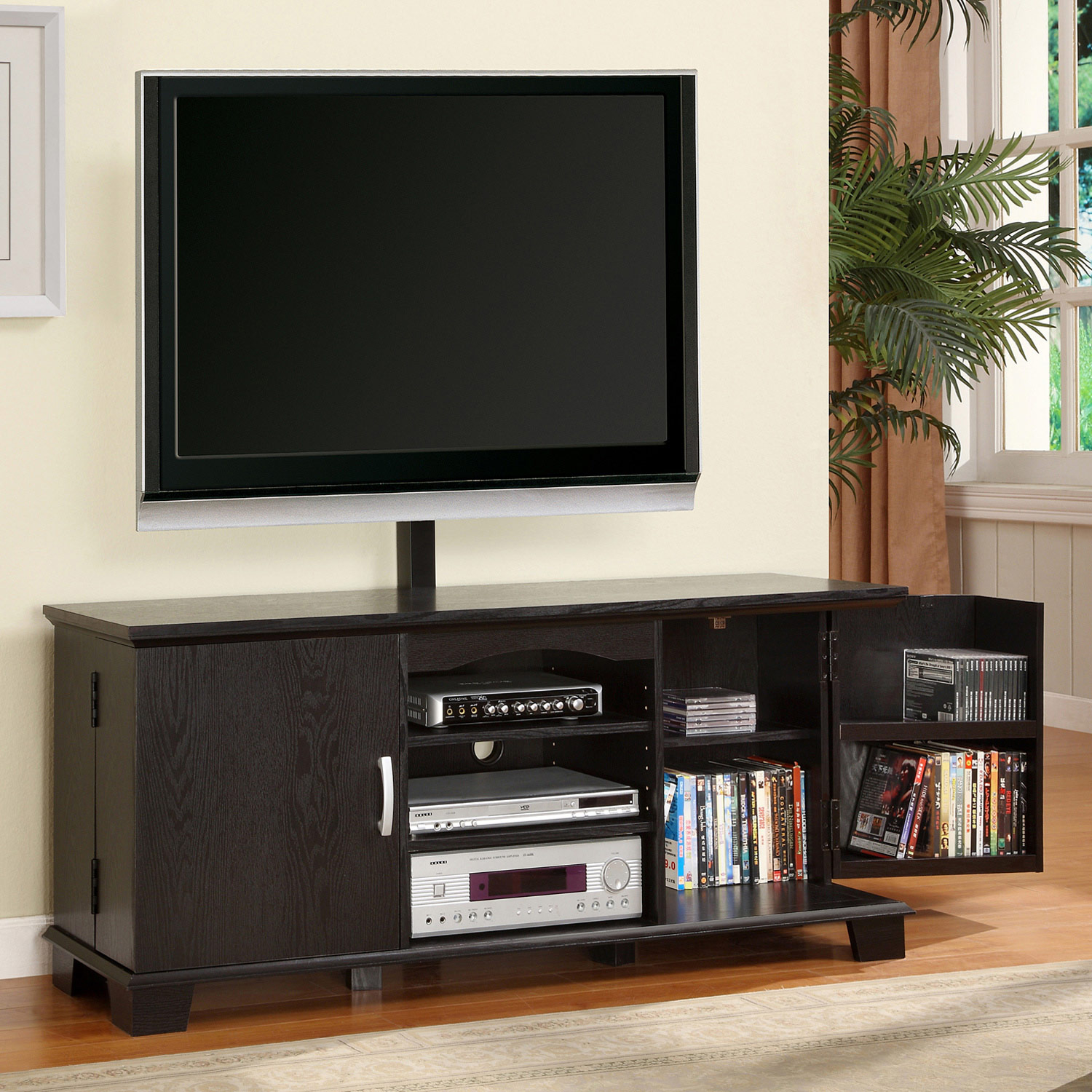 60'' Wood TV Console with Mount and Storage - Black