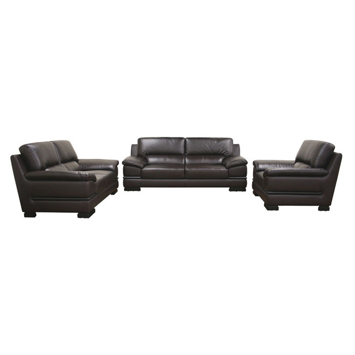 Riley Dark Brown Leather 3-Piece Sofa Set