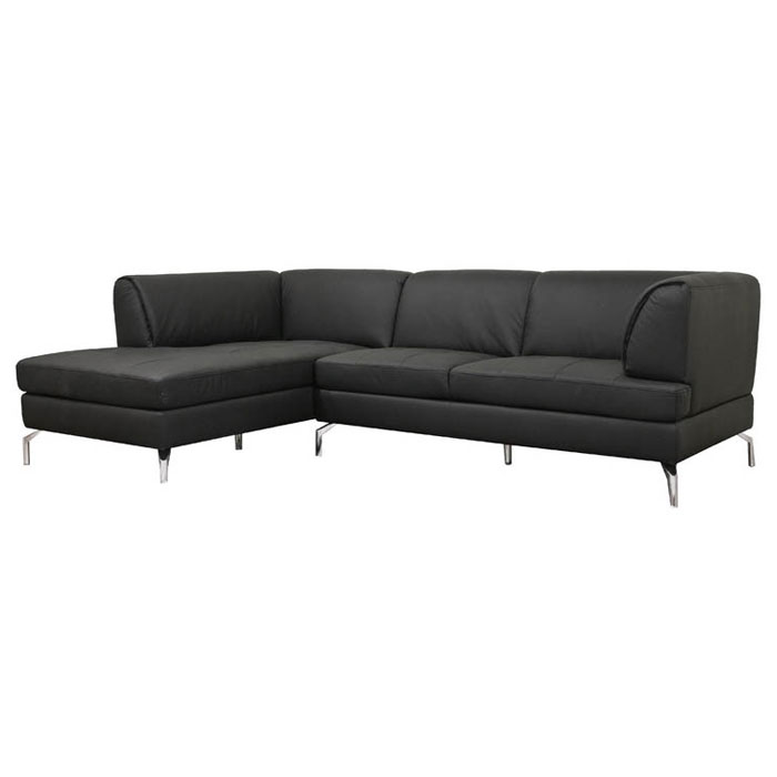 Godfrey Black Leather Sectional with Chaise