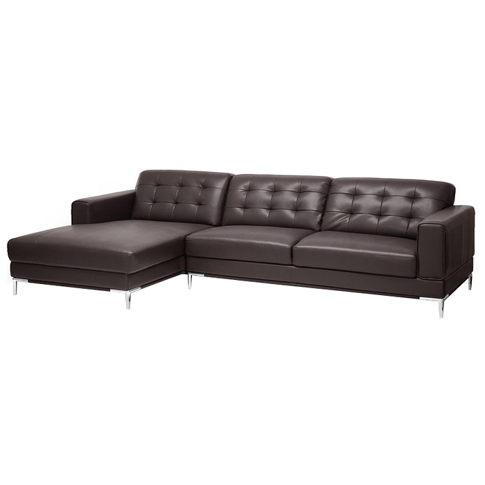 Babbitt Sectional Sofa - Brown Leather, Left Facing Chaise