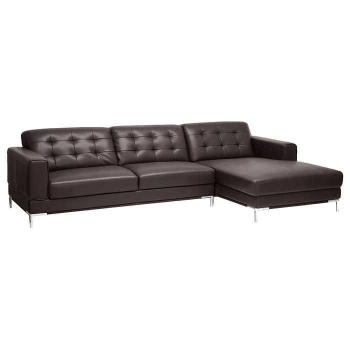 Babbitt Sectional Sofa - Brown Leather, Right Facing Chaise