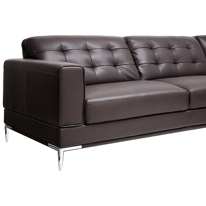Babbitt Sectional Sofa - Brown Leather, Right Facing Chaise - WI-1365-SECTIONAL-RFC-DU206